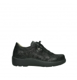 wolky lace up shoes 03250 fantasy 43000 black metal suede