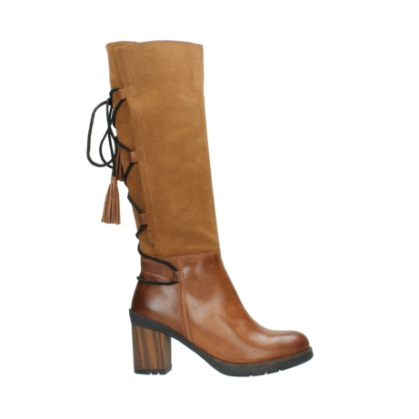 wolky long boots 08062 atasu 34430 cognac leather with suede