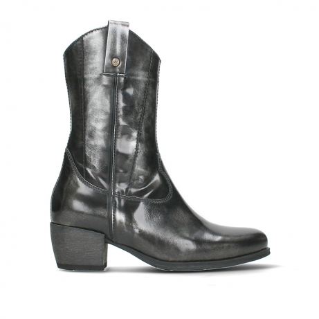 wolky mid calf boots 02876 caprock 63210 anthracite shiny leather
