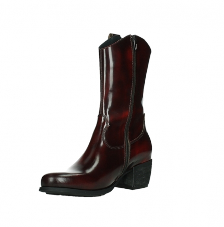 wolky mid calf boots 02876 caprock 63510 burgundy shiny leather_10