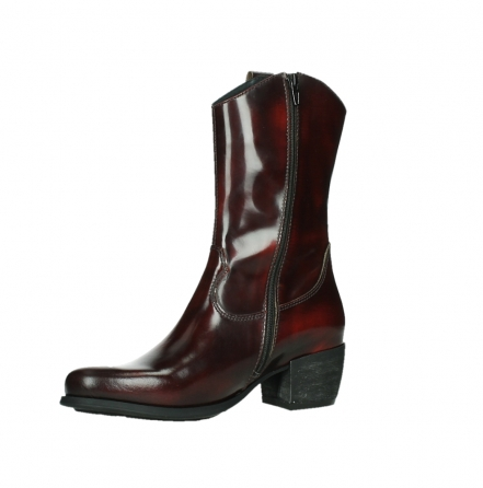wolky mid calf boots 02876 caprock 63510 burgundy shiny leather_11