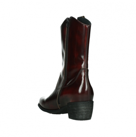 wolky mid calf boots 02876 caprock 63510 burgundy shiny leather_17