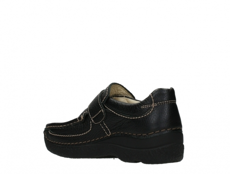 wolky slipons 06221 roll strap 70000 black printed leather_16
