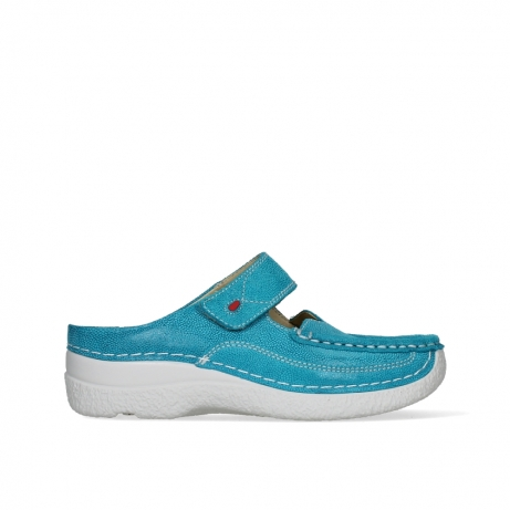 wolky slippers 06227 roll slipper 15760 turquoise nubuck