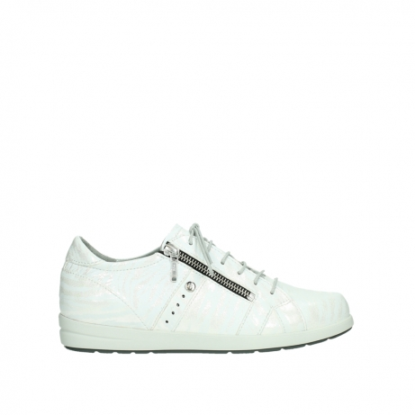 wolky lace up shoes 02429 friction xw 83123 off white silver zebra metallic leather