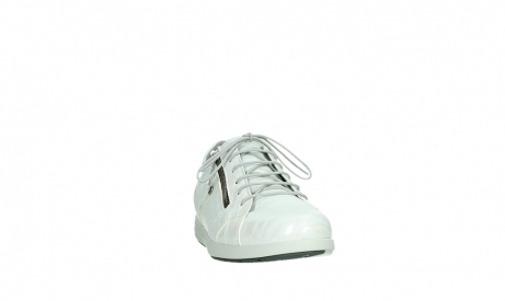 wolky lace up shoes 02429 friction xw 83123 off white silver zebra metallic leather_6